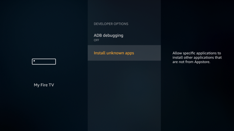 For those using the Firestick Lite, 3rd Gen Fire TV Stick, or 2nd Gen Fire TV Cube, click Install Unkown Apps.