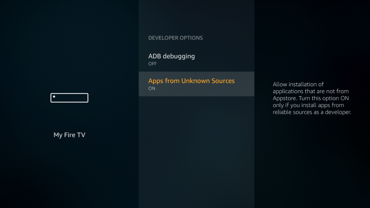 Turn on Apps from Unknown Sources to jailbreak firestick