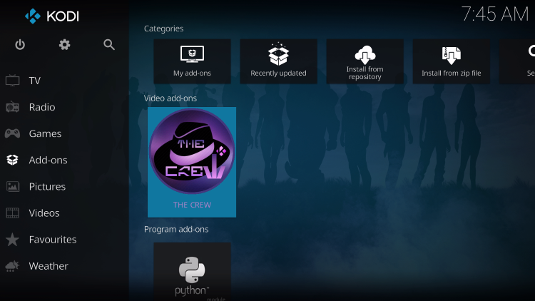 Installation of The Crew Kodi Addon is now complete on your jailbroken firestick