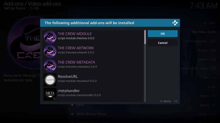 """Kodi will then prompt the message below stating """"The following additional add-ons will be installed"""", Click OK"""