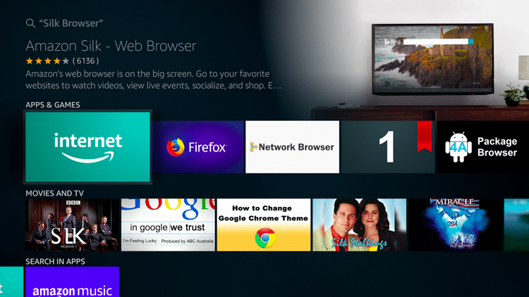 Install the Amazon Silk Browser for free on your Fire TV or Fire TV Stick through the Amazon App Store