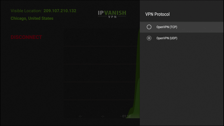 OpenVPN (TCP) and OpenVPN (UDP) are the available settings for VPN Protocol. UDP usually provides much faster download speeds when using a VPN so I recommend that option.