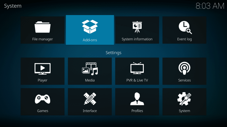 Click your back button on the remote or keyboard until you are back on the System screen to find the oath kodi addon