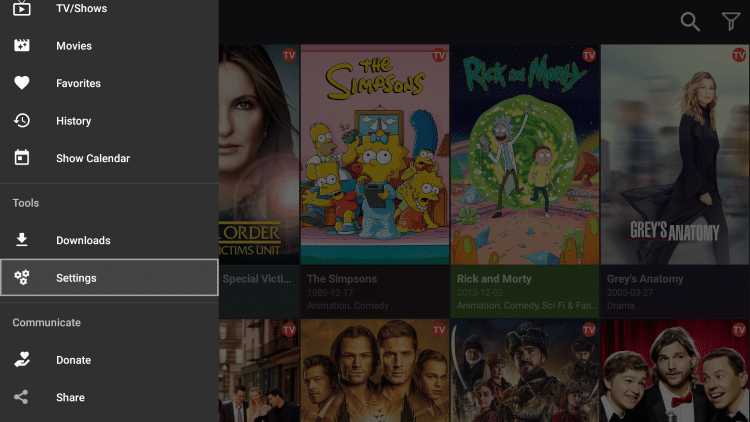 Scroll down and select Settings from the cinema apk menu
