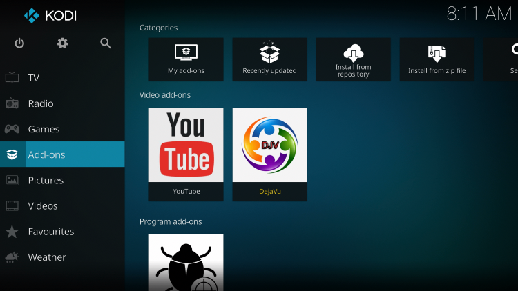 Once the DejaVu add-on has been installed go back to the Home screen of Kodi.