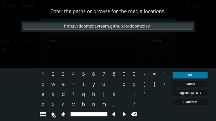 Type the following URL exactly as shown here to install doomzday bk19 kodi build