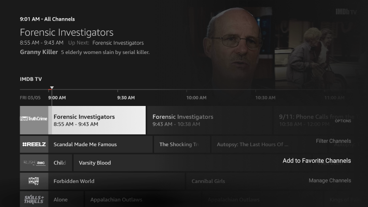 Like other IPTV apps/services, Amazon's free channel guide also includes a favorites manager.
