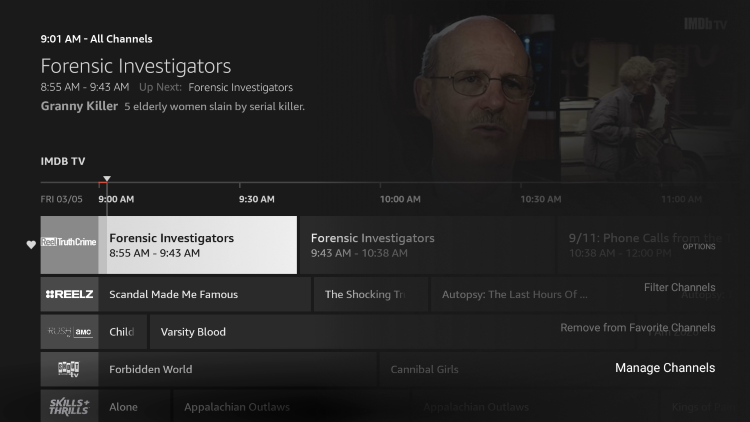 To view your list of favorites, click the options button on your remote and select Manage Channels.
