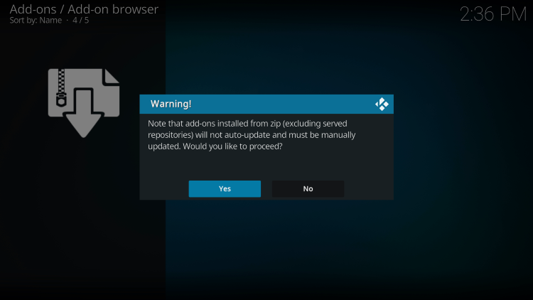 When prompted with the following Warning message, click Yes