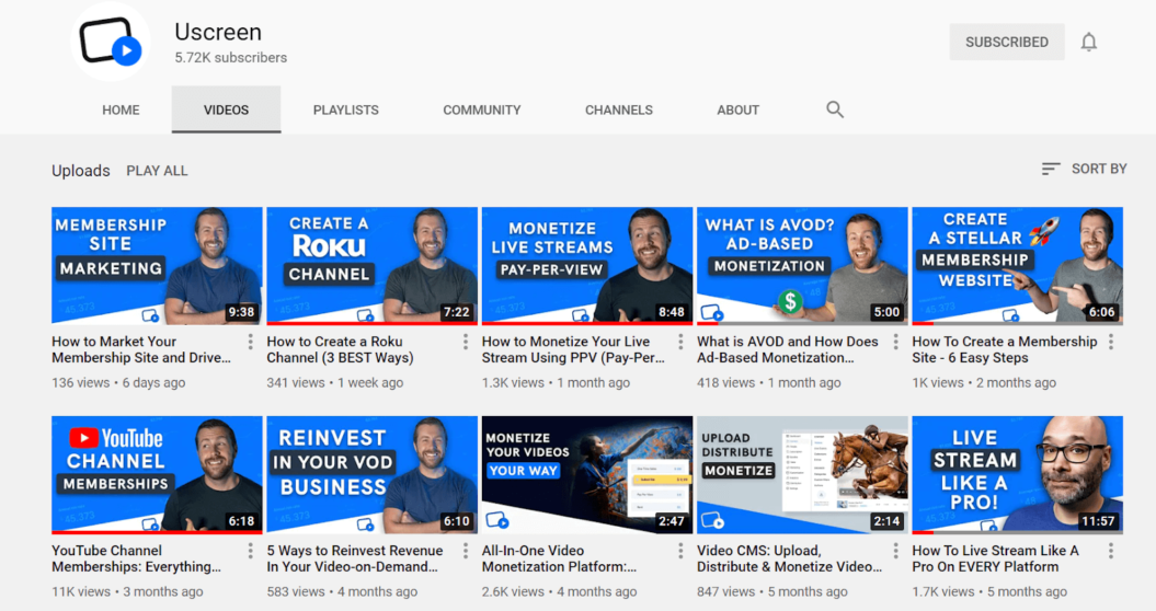 uscreen youtube channel thumbnails example