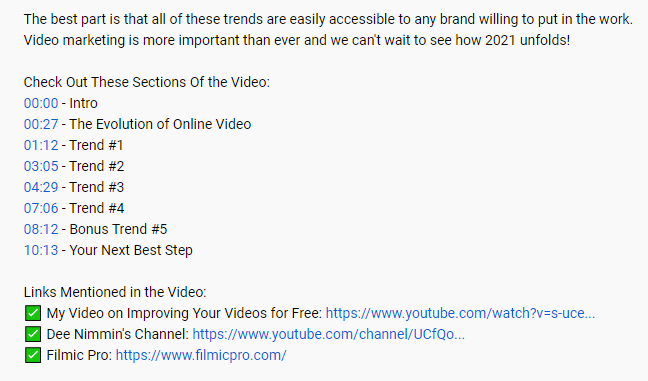 youtube video timestamps example