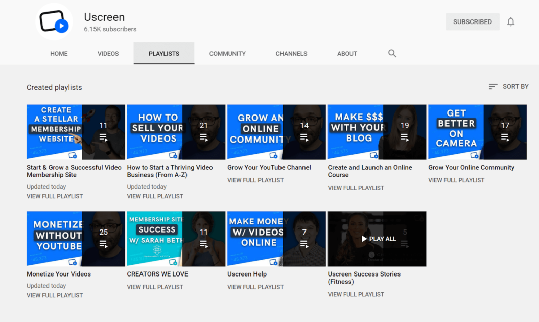 playlists uscreen youtube channel example
