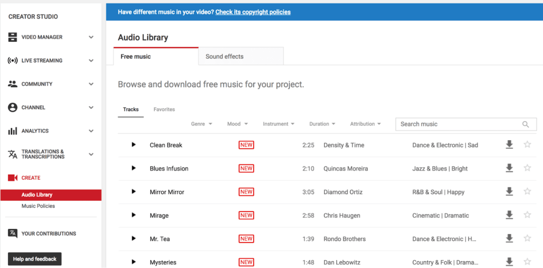 youtube audio library royalty free music paltform