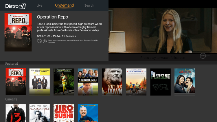 You will notice the hundreds of channels and movies available for free within distrotv