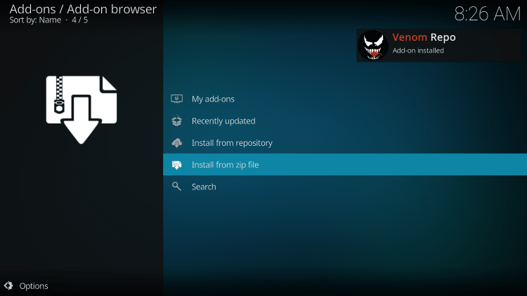 wait for Venom Repo add-on installed message