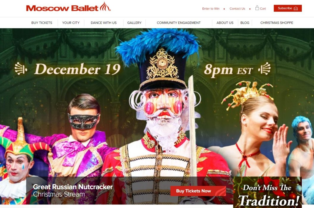 virtual event example moscow ballet homepage