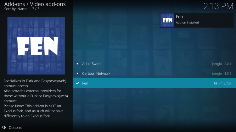 Wait a minute or two for the FEN add-on to install