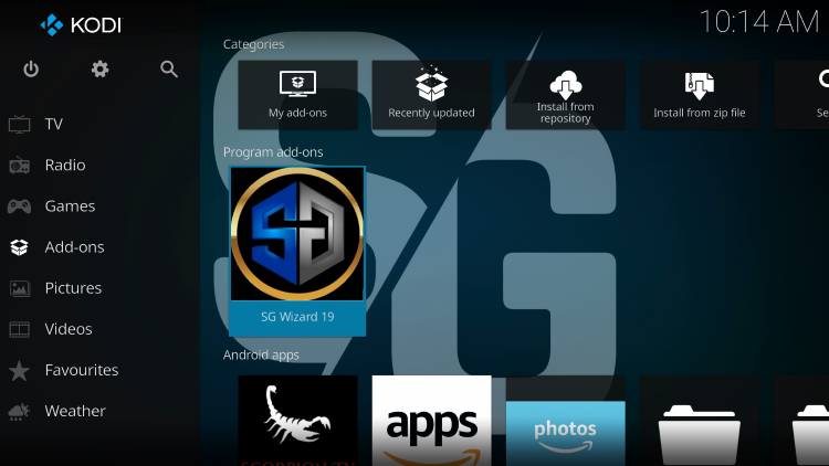 Return to the Kodi home-screen and under add-ons choose SG Wizard 19