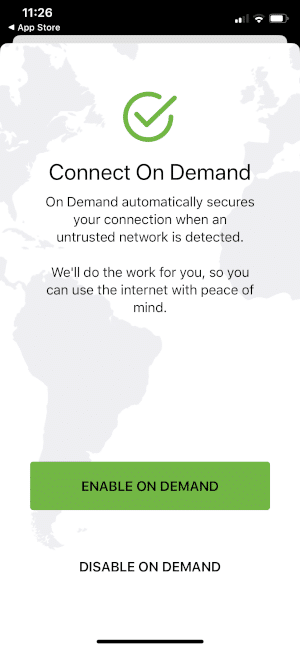 click enable on demand