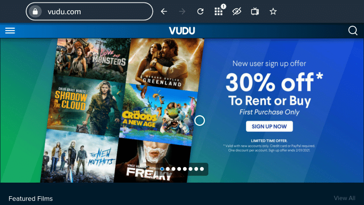 That's it! You are now on Vudu's official website!