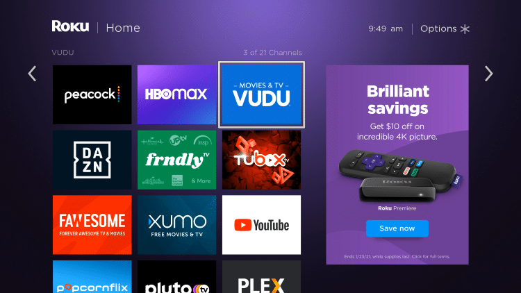 Locate Vudu from your home screen
