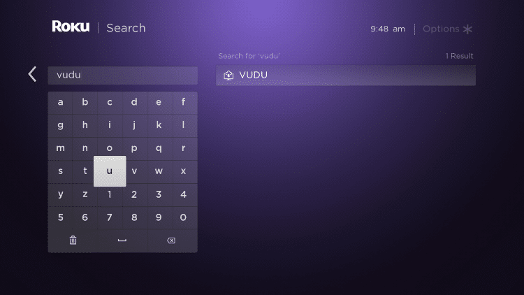 Search for and select Vudu