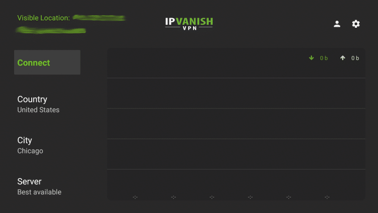 Launch the IPVanish VPN app on your Firestick/Fire TV and click the Settings icon in the upper right of the screen.