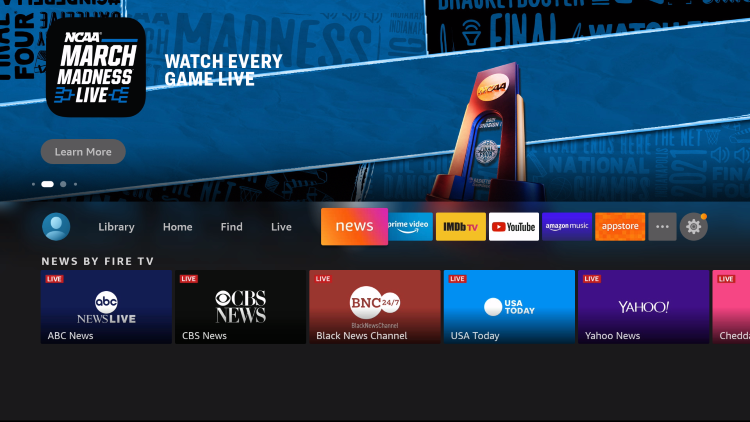 click to launch for local news on firestick