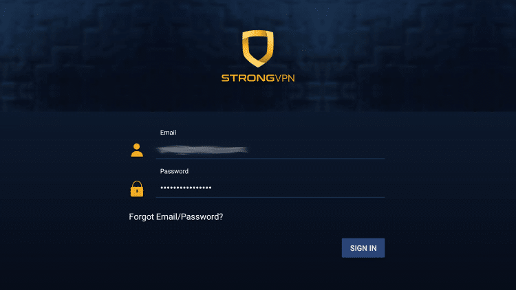 Enter your StrongVPN account information and click Log In.