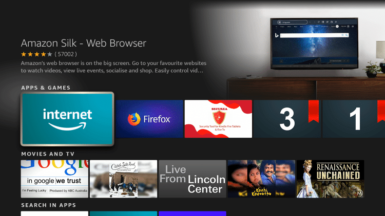 Install theAmazon Silk Browser or any web browser on your Firestick or Fire TV through the Amazon App Store.