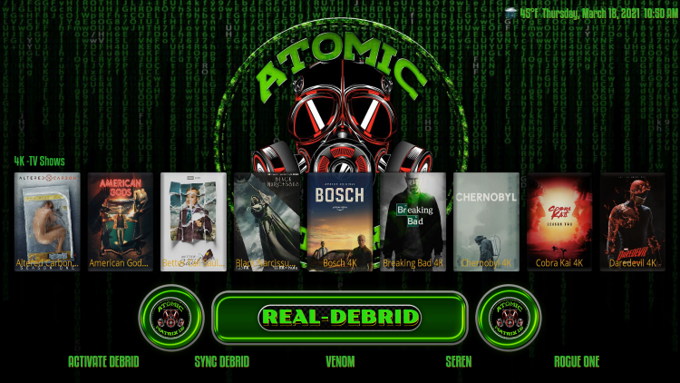 Follow the quick steps below for integration Real-Debrid within the Atomic Matrix Kodi build.
