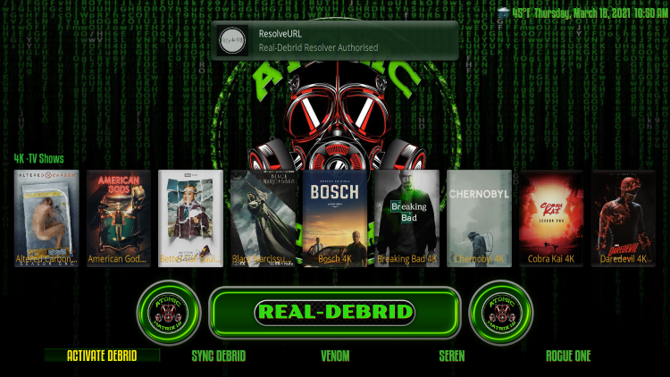 That's it! You have integrated Real-Debrid within the Atomic Matrix Kodi Build.
