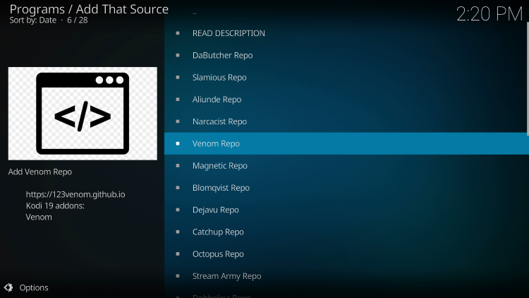 After installing Add That Source Kodi Addon, you then have the option to install various repositories.