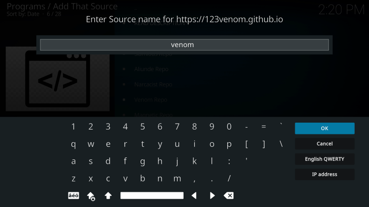 Enter any source name and click OK.