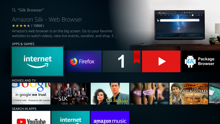 Select the Silk Browser option to stream 123movies
