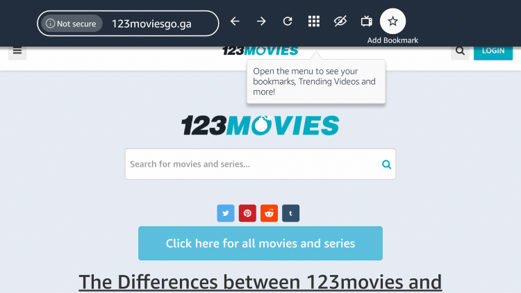"""If you want to bookmark the 123Movies website, click the star icon that says """"Add Bookmark."""""""