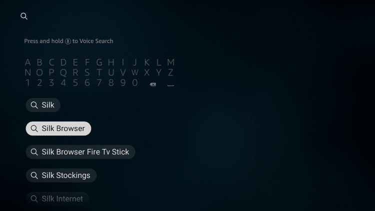 From the Main Menu scroll to hover over the Search icon and typeSilkBrowser. Then select the suggested search result.
