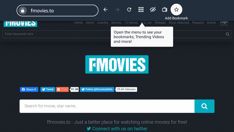 """If you want to bookmark the FMovies site, click the star icon that says """"Add Bookmark."""""""
