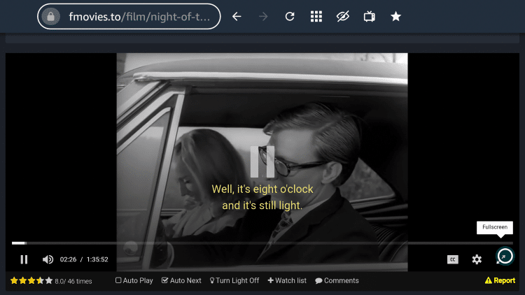 For Fullscreen viewing on FMovies, locate and select the Fullscreen option on the bottom right side of the screen.