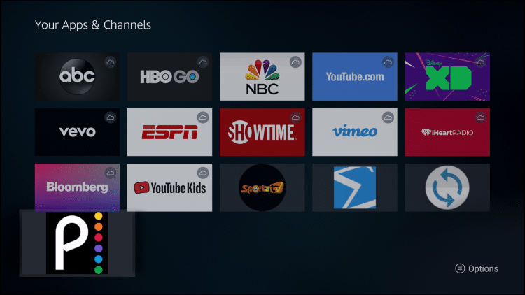 Scroll down to hover over Peacock TV and click the Options button on your remote (3 horizontal lines)