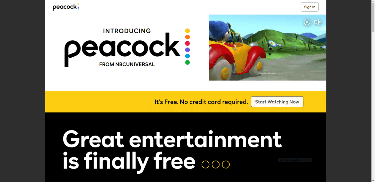 Once on the Peacock TV website, click Start Watching Now.