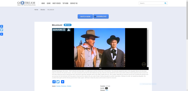 For this example, we watched McLintock!which is one of our Best Public Domain Movies.