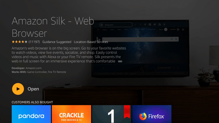 ClickOpen to launch the browser if you prefer. For this example, I suggest holding the Home button on your remote.