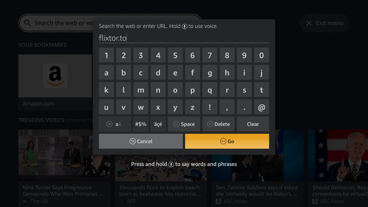 Click the Search icon and enter the following URL - flixtor.to and click Go.