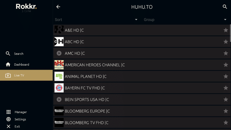 Rokkr APK features an easy to use interface with tons of categories for streaming.
