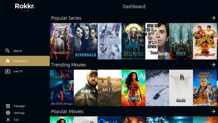 That's it! Notice the various categories of Movies and TV Shows you now have access to within Rokkr APK.