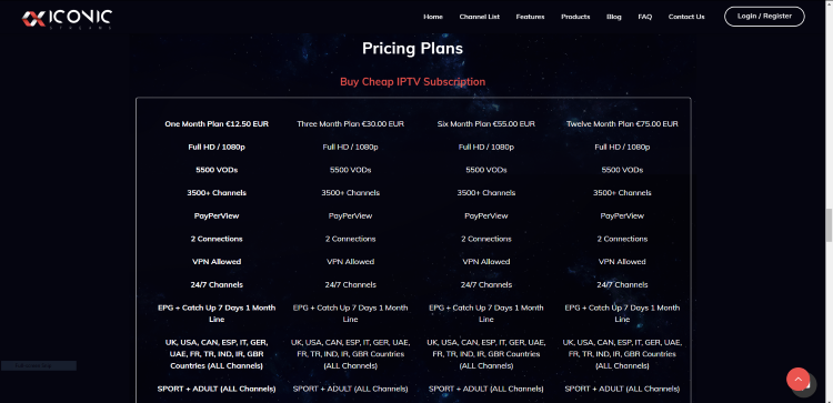 iconic streams pricing