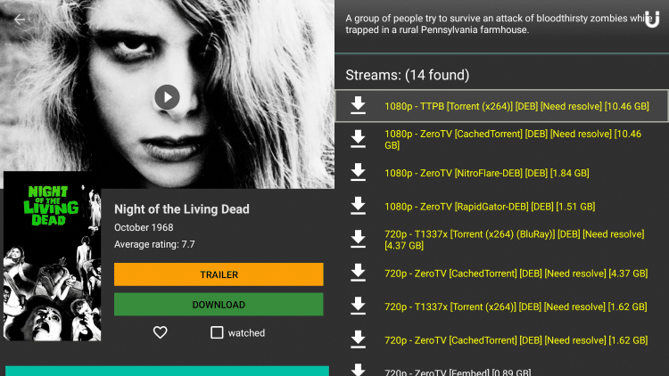 You will see Real-Debrid streams highlighted yellow after making your content selection.