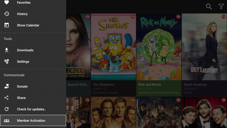 Scroll down on the cinema apk menu and choose Member Activation