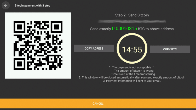 You will then need to enter this code (public key) using your Bitcoin wallet on cinema apk